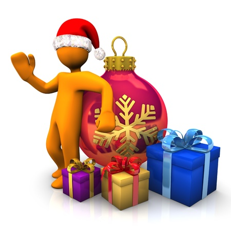 christmas x mas: Orange cartoon character with santa cap and gifts on the white background  Stock Photo