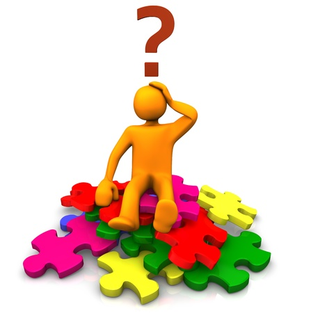interrogation: Orange cartoon on the multicolored puzzles an big question mark  Stock Photo