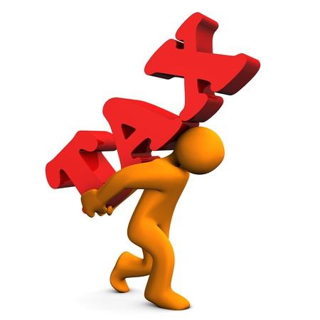 Orange cartoon character with a big text  tax