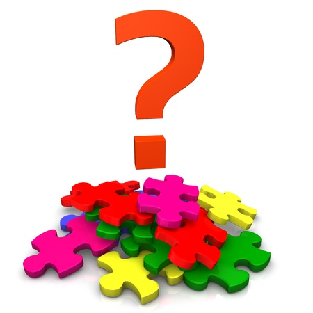 Multicolored puzzles with big red question mark Stock Photo - 13739018