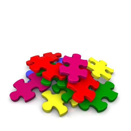 Multicolored puzzle pieces on the white background Stock Photo - 13739019