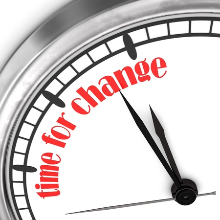 A wall clock with the red text  Time For Change  on the white wall  Фото со стока