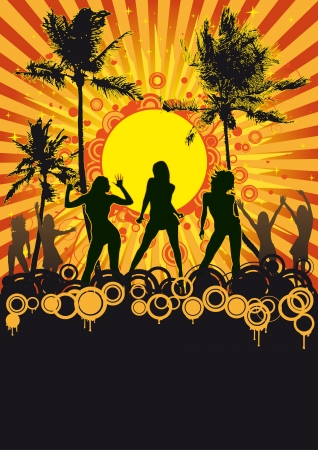 flier: Beach party flyer design with palms, sun and dancing girls
