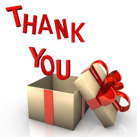 Opened gift box with the red text  thank you Stock Photo - 14156473