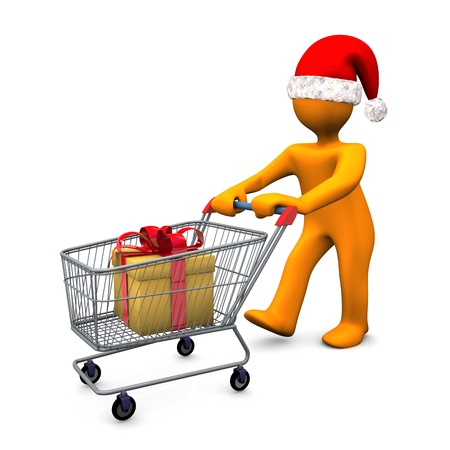 merchant: Orange cartoon character with santa cap and carry with gift on the white background  Stock Photo