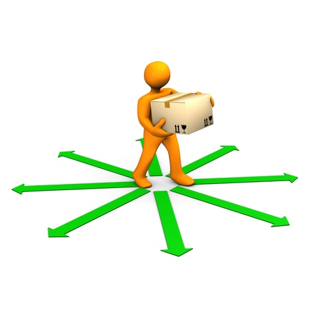 Orange cartoon with a cardboard box and green arrows  photo
