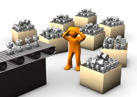 asamblea: Dibujos animados de color naranja con una línea de montaje de cajas en el fondo blanco