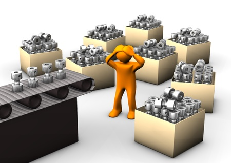 overproduction: Orange cartoon with assembly line an boxes on the white background