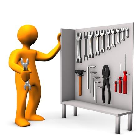 Personaje de dibujos animados de color naranja con armario de herramientas en el fondo blanco Foto de archivo