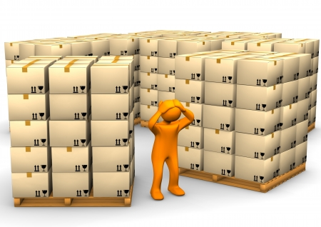 storage warehouse: Orange cartoon character with a pallets on the white background