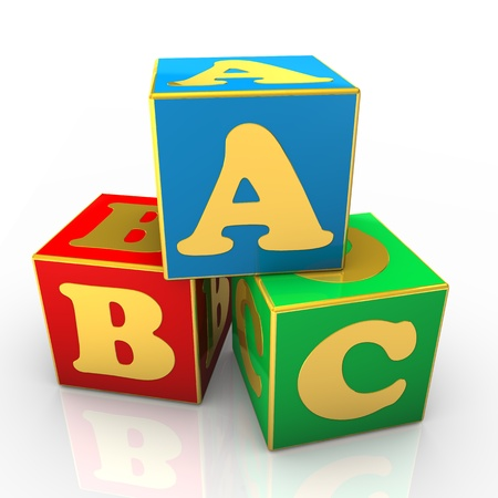 Blue, red and green ABC cubes with golden text. photo