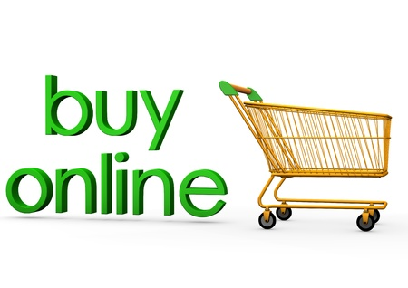 retailers: Orange carry with the green text buy online. Stock Photo