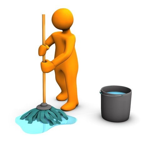 Orange cartoon character with dust mop and bucket on the white background.