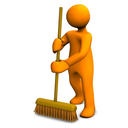 broom: Orange cartoon character with a broom on the white background.
