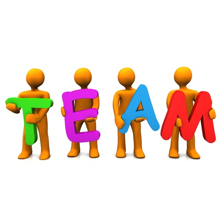 Orange cartoon characters with the text 'TEAM' on the white background. photo