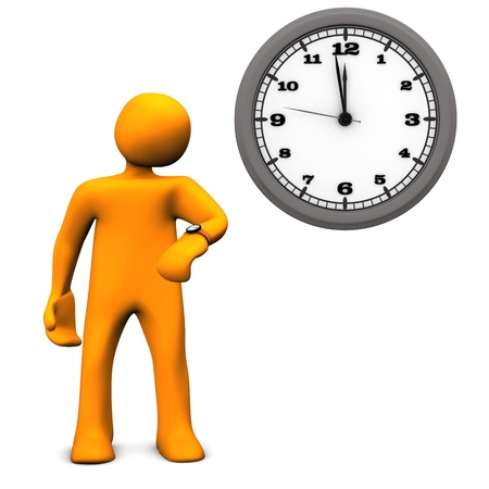 delay: Orange cartoon character with a wall clock on the white background. Stock Photo
