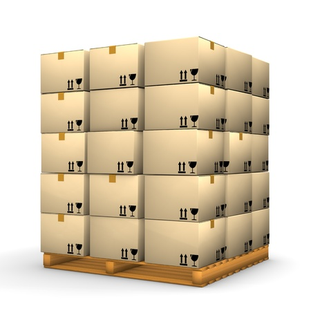 A pallet with boxes on the white background. photo