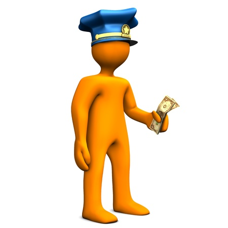corrupted: Orange cartoon with police cap and money in the hand  Stock Photo