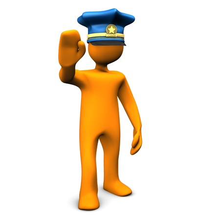 felony: Orange cartoon character with police cap und symbol for stopping  Stock Photo