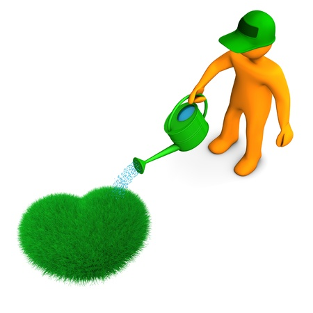 Orange cartoon character watering the heart from grass  photo