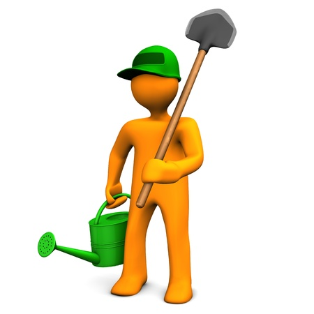 nurseryman: Gardener With Watering Can And Spade on the white background