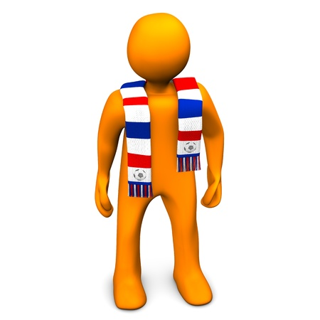 colour fan: Orange cartoon character with a scarf in blue, red and white colors