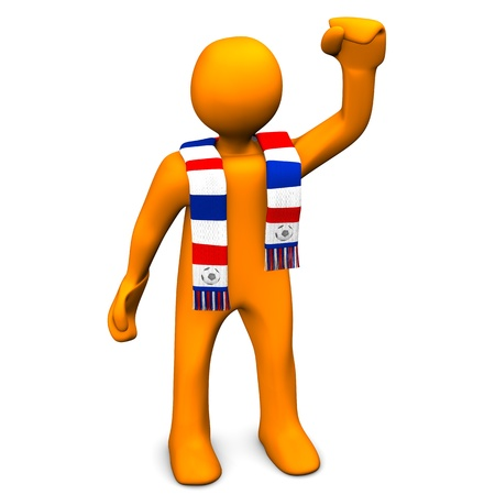 whooping: Orange cartoon character with a scarf in blue, red and white colors