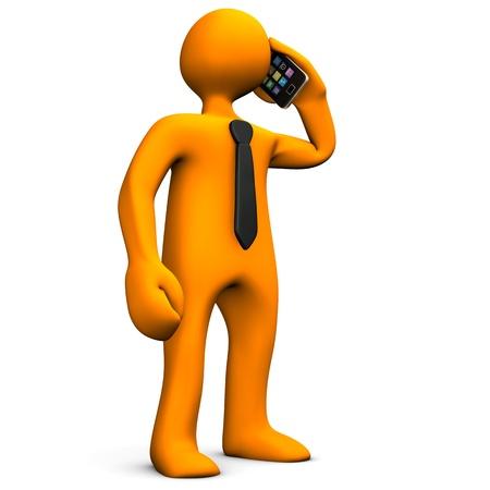 Oranje stripfiguur telefoon met een smartphone Stockfoto