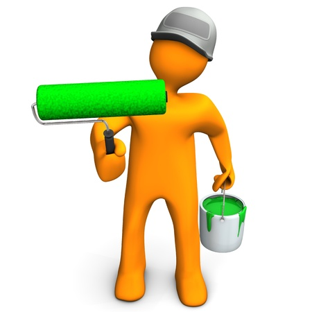 A painter with a big roller and bucket with green paint Stock Photo - 15118205