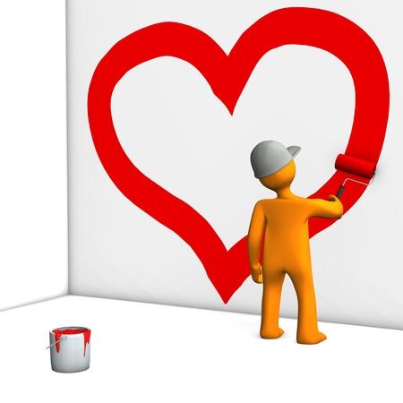 Orange cartoon character paint the heart on the wall Stock Photo - 15118202
