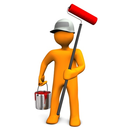 home decorating: A painter with a big roller and bucket with red paint  Stock Photo