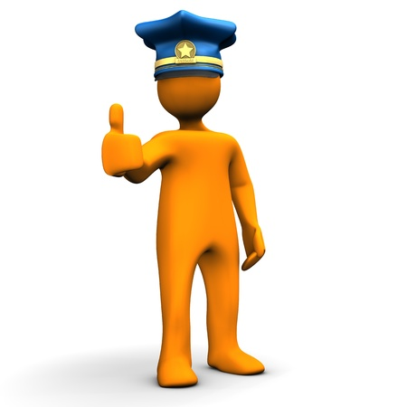 all caps: Orange cartoon character with police cap and the symbol for OK