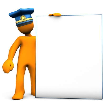 slab: Police officer with a sign board on the white background