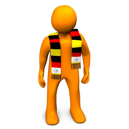 whooping: Orange cartoon character with a scarf in red,yellow and black colors