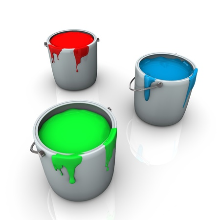 Three buckets with red, green and blue colours on the white background. Stock Photo - 15118231