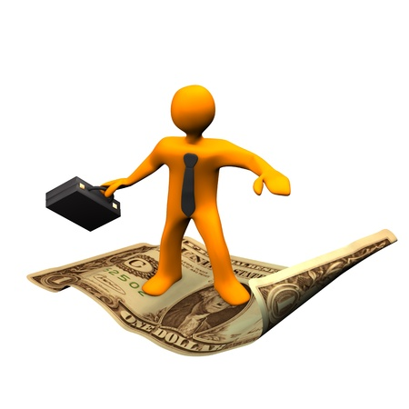 Orange cartoon character with a black briefcase flying on the dollar.