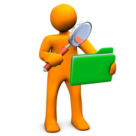 Orange cartoon Zeichen-Suche in einem grünen Ordner. Standard-Bild