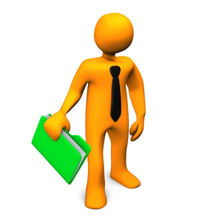 lazo negro: Personaje de dibujos animados de naranja con una carpeta verde y lazo negro.