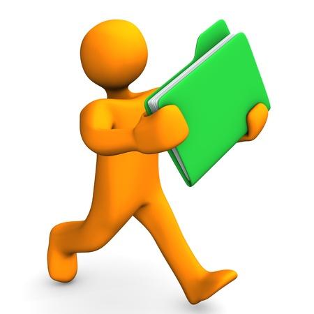 Orange cartoon Charakter läuft mit einem grünen Ordner.