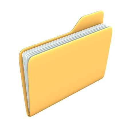 Yellow pc folder on the white background. Stock Photo - 15118219