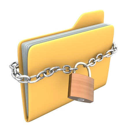 encryption icon: Yellow pc folder with chain and padlock on the white background. Stock Photo