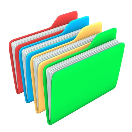 Four foldersin red, blue, yellow and green colors on the white background. Stock Photo - 15118234