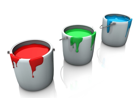 Three buckets with red, green and blue colours on the white background  photo