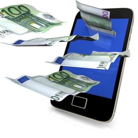 billets euros: Smartphone avec le vol 100 notes euros sur le fond blanc