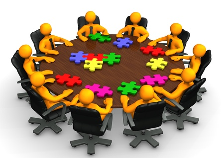 negotiations: Orange cartoon characters with puzzles on table