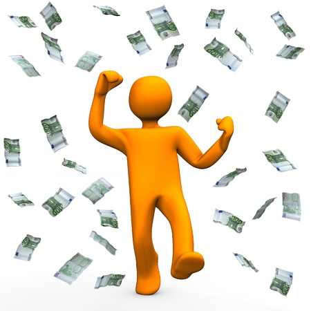 Orange cartoon character has win money and is happy