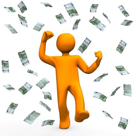 orange man: Orange cartoon character has win money and is happy