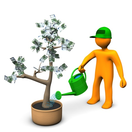 bank note: A gardener watering a plant with euro bank notes  White background