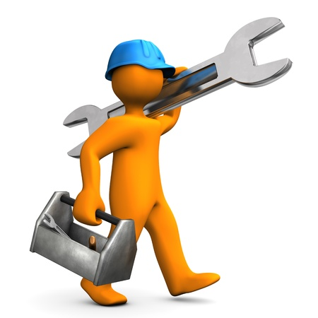 fitter: Orange cartoon character walks with big wrench on the white background
