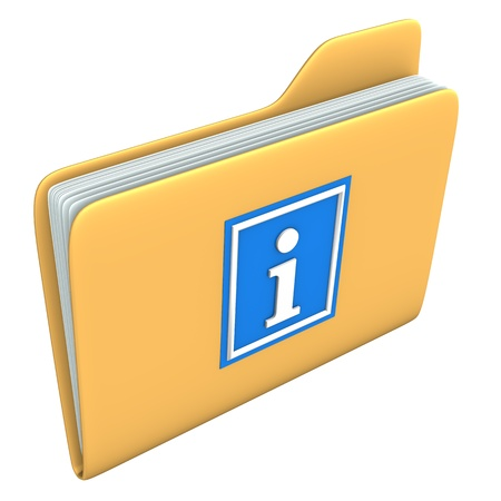 Yellow folder with blue information symbol on the white backround  Stock Photo - 15234443